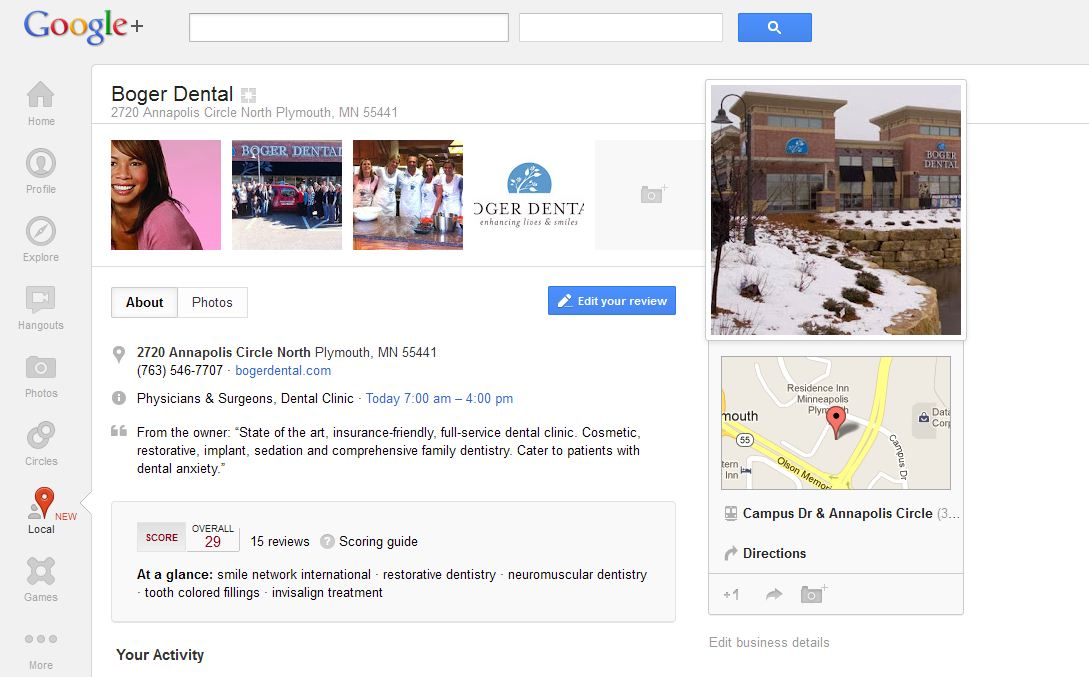 Dentist Reviews on Google+ Local Page